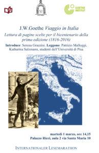 1 marzo 2016 – Internationaler Lesemarathon, nel bicentenario della prima edizione di J. W. Goethe, Viaggio in Italia.