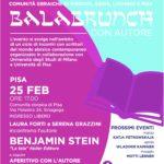 """Domenica 25 febbraio 2018, Sinagoga di Pisa – Incontro con Benjamin Stein, autore del romanzo """"La Tela"""""""